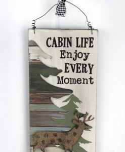 """Cabin Life Wood With Metal Deer 11.75"""" X 6"""" Wall Sign"""
