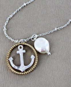 Worn Two-Tone Anchor Circle And Pearl Necklace