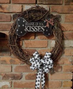 "Beware of Dog Kisses 16"" Grapevine Wreath"