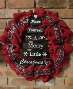 """Have Yourself A Merry Little Christmas 16"""" Red Burlap Wreath"""