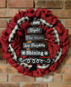 """O Holy Night The Stars are Brightly Shining 16"""" Red Burlap Christmas Wreath"""