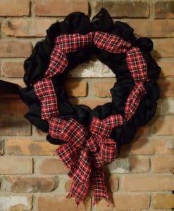 """Red and Black Plaid 16"""" Black Burlap Wreath"""