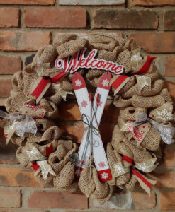 """Welcome Red White Skiis 16"""" Burlap Winter Wreath"""