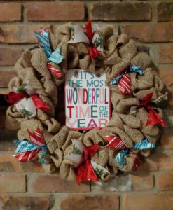 """It's the Most Wonderful Time of the Year 16"""" Burlap Christmas Wreath"""