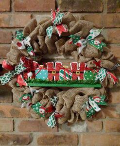 "Ho Ho Ho Christmas Holiday 16"" Burlap Wreath Door Decor"