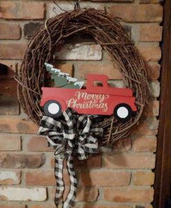 "Merry Christmas Vintage Red Truck 16"" Grapevine Wreath Door Decor"