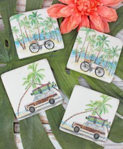 "Set of Four 4"" x 4"" Resin Retro Beach Coasters"