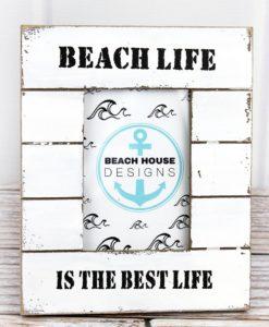 "Beach Life White Nautical Wood 3.5"" x 5"" Photo Frame"