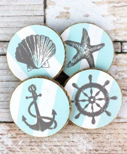 "Set of Four 4"" x 4"" Nautical Coasters"
