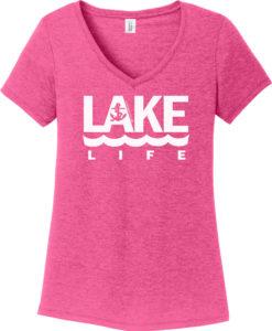 Lake Life Women's Pink Anchor V-Neck T-Shirt Tee