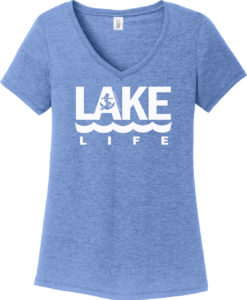 Lake Life Women's Maritime Blue Anchor V-Neck T-Shirt Tee