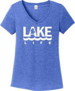Lake Life Women's Blue Frost Michigan V-Neck T-Shirt Tee