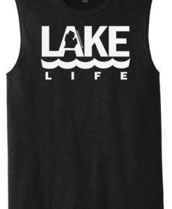 Lake Life Men's Black Michigan Tank Top Sleeveless Tee