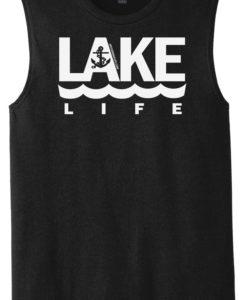 Lake Life Men's Black Anchor Tank Top Sleeveless Tee
