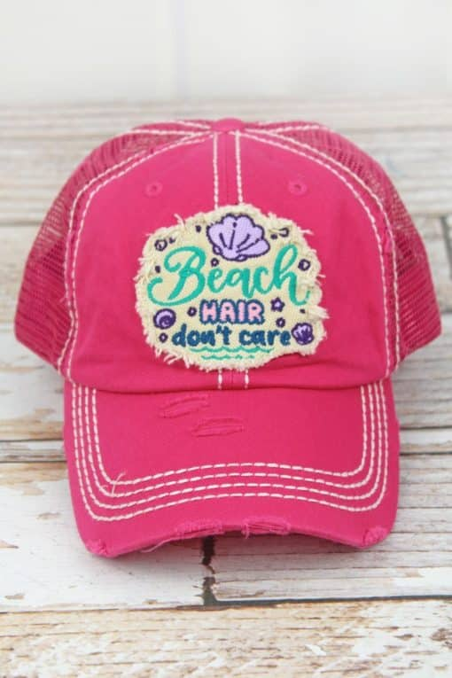 Distressed Hot Pink Beach Hair Don't Care Adjustable Hat