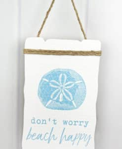 """Don't Worry Beach Happy 13.25"""" x 8.25"""" Wood Sign"""