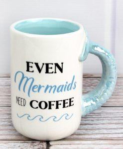Even Mermaids Need Coffee White Blue Ceramic Mug