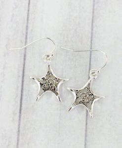 Silvertone Marcasite Starfish Earrings