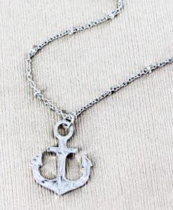 Silvertone Anchor Necklace