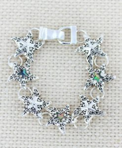 Silvertone Scroll And Abalone Starfish Magnetic Bracelet