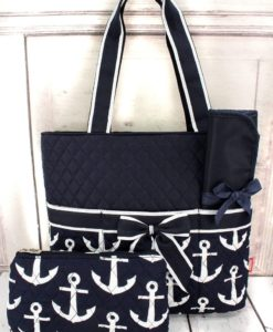 Quilted Nautical Diaper Bag Navy with White Anchors