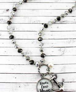 Anchor & Never Lose Hope Bubble Pendant Monochrome Beaded Necklace