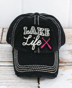 Distressed Black Lake Life Hat