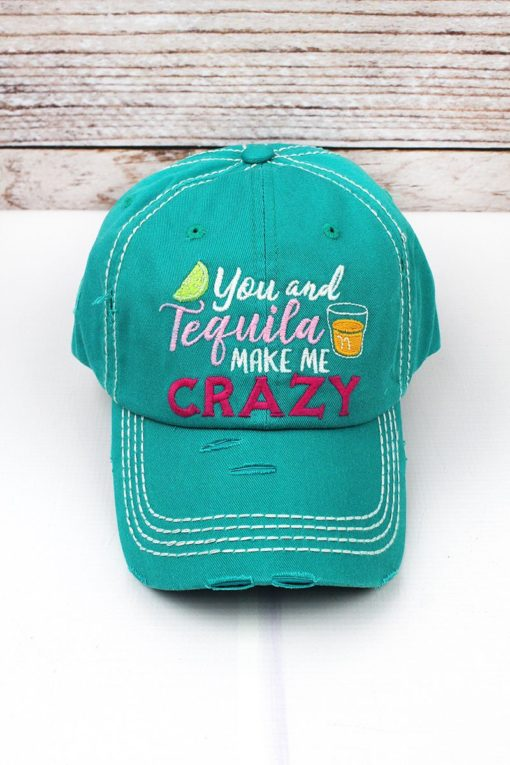 Distressed Turquoise You And Tequila Make Me Crazy Adjustable Hat