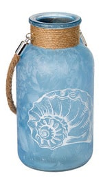 """Blue Sea Glass Bottle With Twine 7.8"""""""