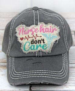 Distressed Black Nurse Hair Don't Care Adjustable Hat