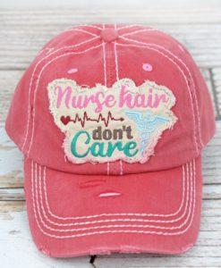 Distressed Salmon Nurse Hair Don't Care Adjustable Hat