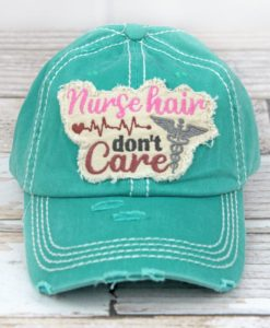 Distressed Turquoise Nurse Hair Don't Care Adjustable Hat
