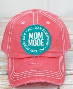 Distressed Salmon Mom Mode Adjustable Hat