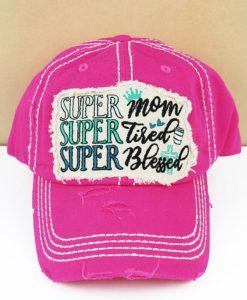 Distressed Hot Pink Super Mom Super Tired Super Blessed Adjustable Hat