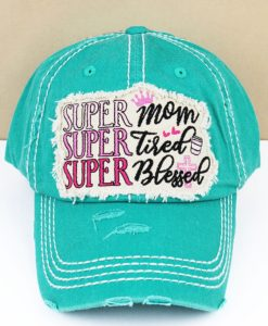 Distressed Turquoise Super Mom Super Tired Super Blessed Adjustable Hat