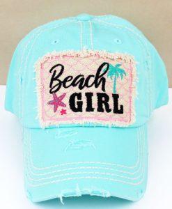 Distressed Mint Blue Beach Girl Adjustable Hat