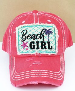 Distressed Salmon Beach Girl Adjustable Hat
