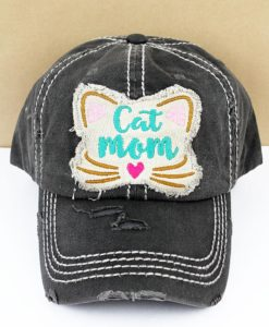 Distressed Black Cat Mom Adjustable Hat
