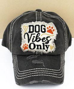 Distressed Black Dog Vibes Only Adjustable Hat