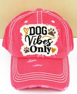 Distressed Salmon Dog Vibes Only Adjustable Hat