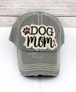 Distressed Steel Gray Dog Mom Adjustable Hat