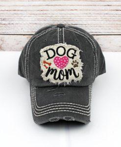 Distressed Black Rhinestone Heart Dog Mom Bling Adjustable Hat