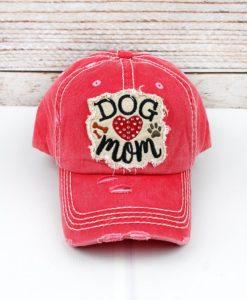 Distressed Salmon Rhinestone Heart Dog Mom Bling Adjustable Hat