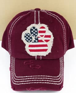 Distressed Maroon Patriotic Paw Print Adjustable Hat