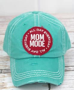 Distressed Turquoise Mom Mode Adjustable Hat