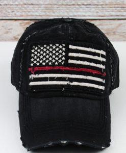 Distressed Black Thin Red Line Flag Adjustable Hat