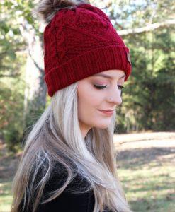 Snow Day Fleece Lined Knit Burgundy Pom Pom Beanie Hat