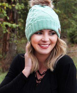Snow Day Fleece Lined Knit Mint Pom Pom Beanie Hat