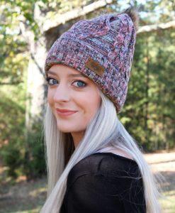 Snow Day Fleece Lined Knit Multi Color Mint Pom Pom Beanie Hat