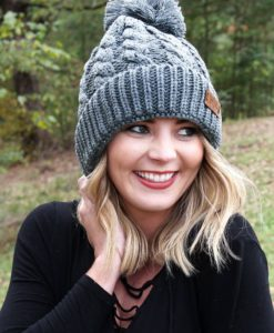 Winter Escape Plush Lined Knit Charcoal Pom Pom Beanie Hat